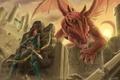 Картинка оружие. стрелы. лук, крылья. крепость, доспехи. прячется. дракон, девушка, арт