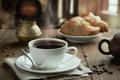 Картинка салфетка, стол, чашка, напиток, зёрна, кофе, блюдце, круассаны