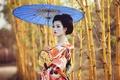 Картинка азиатка, зонт, девушка