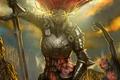Картинка демоны, оружие, арт, ангел, доспехи, красные волосы, меч, броня, фантастика
