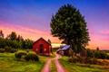 Картинка дорога, небо, облака, деревья, дома
