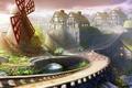 Картинка город, дома, арт, мельница