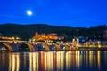 Картинка city, lights, bridge, Germany, night, castle, reflection, blue hour, Heidelberg, Old Bridge, Neckar River, The ...