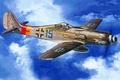 """Картинка небо, Рисунок, самолёт, как его называли в люфтваффе, или """"Дора-9"""", Фокке-Вульф Fw.190D - """"длинноносая Дора"""", ..."""