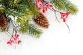 Картинка snow, снег, зима, Merry, шишки, снежинки, елка, Christmas, decoration, winter