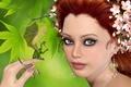 Картинка дракон, девушка, цветы, зеленый фон