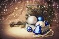 Картинка синие, Новый Год, коробка, зима, ёлка, игрушки, New Year, Christmas, ветки, декорации, шарики, серебристые, ель, ...