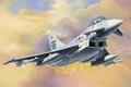 Картинка jet, Eurofighter Typhoon, aviation, painting, airplane, war, art