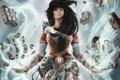 Картинка wizard, обломки, арт, Reaper of Souls, магия, волосы, девушка, Diablo III, руны