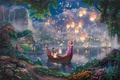 Картинка цветы, ночь, мост, огни, озеро, замок, лодка, сказка, парус, живопись, фонарики, принцесса, дворец, Tangled, Паскаль, ...