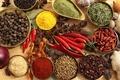 Картинка перец, чёрный перец, имбирь, грецкие орехи, бадьян, специи, чеснок, красный перец, приправы, лавровый лист, лук