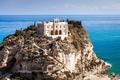 Картинка Тропеа, Tropea, Tyrrhenian Sea, Италия, замок, скала, Italy, Тирренское море