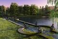 Картинка озеро, парк, статуя, рендер, деревья, пруд, закат