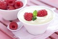 Картинка cream, milk, десерт, dessert, fruits, raspberries, йогурт, малина, фрукты, yogurt, крем, cups, еда