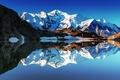 Картинка отражения, озеро, Франция, гора, зеркало, Монблан, белая гора, Французкияе Альпы
