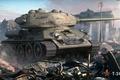 Картинка война, средний, развалины, советский, город, руины, World of Tanks, дым, арка, T-34-85, танк