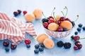 Картинка абрикосы, черешня, черника, ягоды, натюрморт, фрукты, Anna Verdina, лето, вишня, ежевика