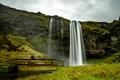 Картинка мост, скала, водопад, Исландия, Seljalandsfoss