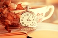 Картинка листья, время, часы, чашка, книга, циферблат, leaves, cup, book, time, clock, dial