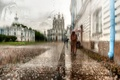 Картинка девушка, плащ, Санкт-Петербург, зонт, дождь, капли