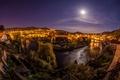 Картинка Чески-Крумлов, дома, город, луна, огни, ночь, Чехия, небо, Cesky Krumlov, река