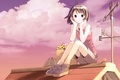 Картинка крыша, цветы, аниме, девочка, корзинка