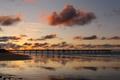 Картинка широкоэкранные, HD wallpapers, обои, песок, море, вода, домик, полноэкранные, background, fullscreen, облака, мост, широкоформатные, фон, ...
