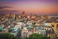Картинка улицы, дома, крыши, море, Гавана, Куба, небо, восход солнца, здания, облака
