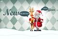 Картинка Новый год, олень, дед мороз