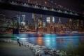 Картинка Manhattan, Бруклинский мост, ночной город, Manhattan Bridge, здания, набережная, мосты, Brooklyn Bridge, New York City, ...