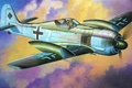 Картинка war, ww2, painting, fighter, airplane, Fw190A-7 w/Slipper Tank, art