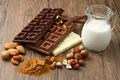 Картинка фундук, орехи, шоколад, молоко, сладкое, миндаль