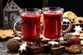 Картинка Рождество, шары, Новый год, Christmas, ягоды, cookie, напиток, drink, печенье, глинтвейн, кружки, выпечка, baking
