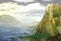 Картинка море, нарисованный пейзаж, скалы, облака, замок