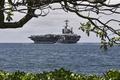 Картинка корабль, авианосец, берег, военный, дерево, ВМФ США, море, американский, USS John C. Stennis, Джон К. ...