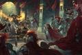 Картинка оружие, битва, войны, красные плащи, маг, доспехи, замок