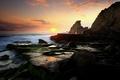 Картинка океан, Закат, скалы, мох, камни
