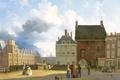 Картинка Питер Даниэль ван дер Бург, город, городской пейзаж, картина, Площадь у Тюремных Ворот в Гааге