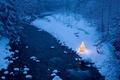 Картинка лес, река, зимний, ёлка, гирлянды, новогодняя