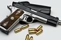 Картинка пистолет, белый фон, патроны, кобура, Wilson, Combat, Pistol, .45ACP