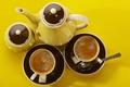 Картинка посуда, чай, фон, кружки, чашки, желтый