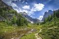 Картинка небо, трава, вода, облака, деревья, горы, камни, скалы, долина, Канада, Альберта, Banff National Park, тропинка, ...