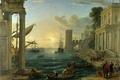 Картинка картина, лодка, пейзаж, люди, город, море, небо, The Embarkation of the Queen of Sheba, Claude ...