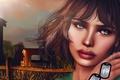 Картинка волосы, глаза, лицо, фон, губы, девушка