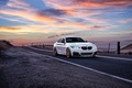 Картинка Car, M235i, Sunrise, Avant, Garde, San Jose, Sunset, White, Road, Front, Wheels, BMW, Mountains