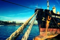 Картинка Корабль, пристань, канаты