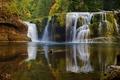 Картинка водопад, озеро, осень, лес, каскад