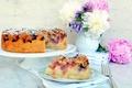 Картинка еда, черника, пирог, выпечка, пионы