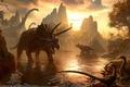 Картинка водопой, вечер, горы, миры, Kerem Beyit, динозавры