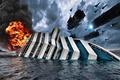 Картинка корабль, подбитый, invasion, aliens, ship, attack, звездолёты, вода, нападение, оккупация, тонущий, истребители, starships, огонь, нашествие, ...